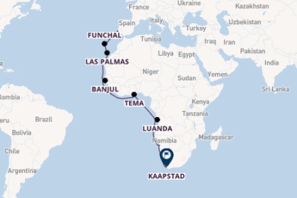 Verken Lissabon, Luanda en Kaapstad