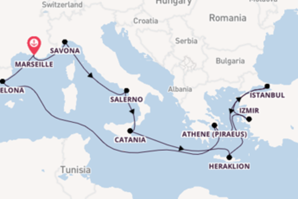 Geniet van een 15-daagse cruise naar Marseille