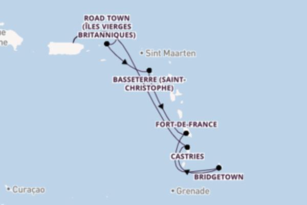 Fort-de-France depuis San Juan pour une croisière de 8 jours