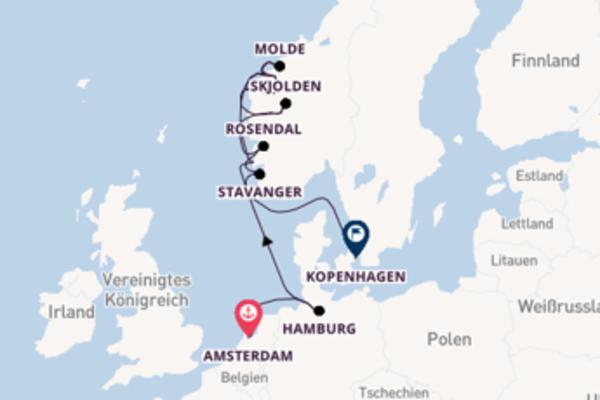 15-tägige Kreuzfahrt von Amsterdam nach Kopenhagen
