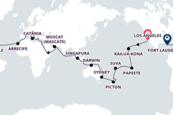 A bordo do Island Princess em um cruzeiro de 98 dias