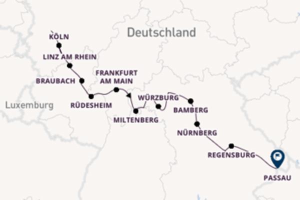 Begeisternde Kreuzfahrt von Düsseldorf nach Passau