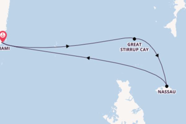 Cruise naar Miami via Great Stirrup Cay