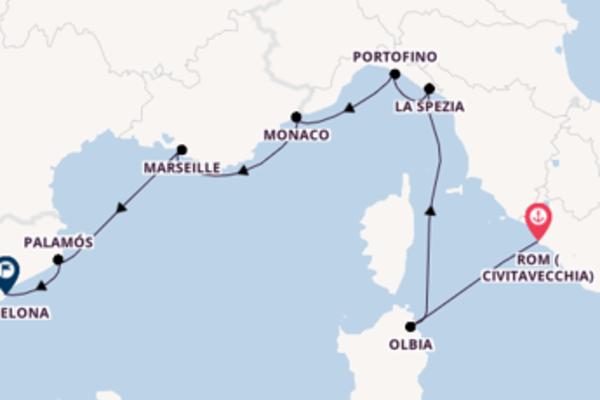 8-tägige Kreuzfahrt von Civitavecchia (Rom) nach Barcelona