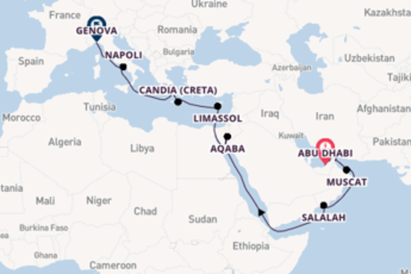 Viaggio da Abu Dhabi verso Limassol