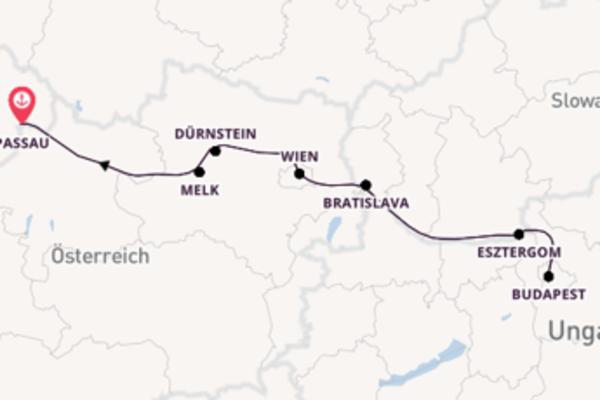 Herrliche Kreuzfahrt über Esztergom ab Passau