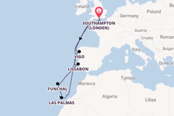 Geniet van een 13-daagse cruise naar Southampton (Londen)