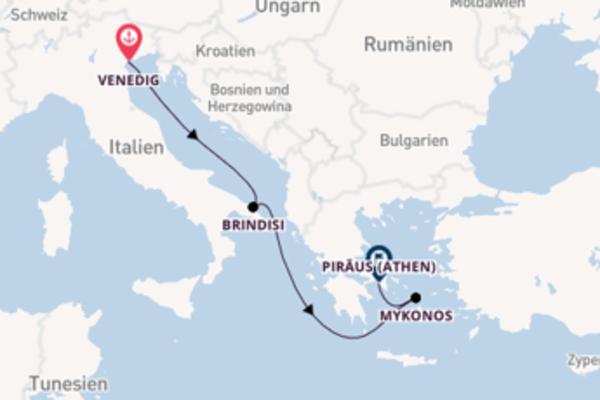 Erleben Sie Venedig, Brindisi und Piräus (Athen)