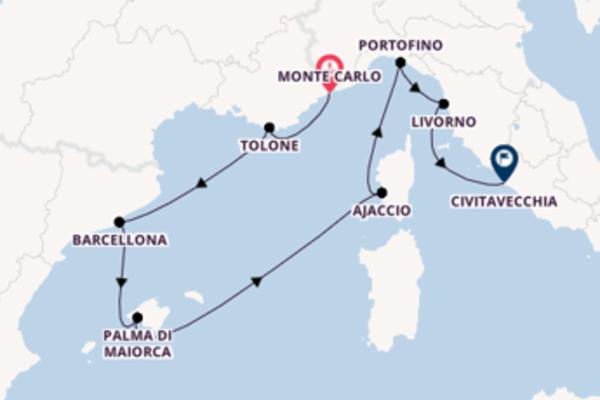 Da Monte Carlo a Civitavecchia in 8 giorni