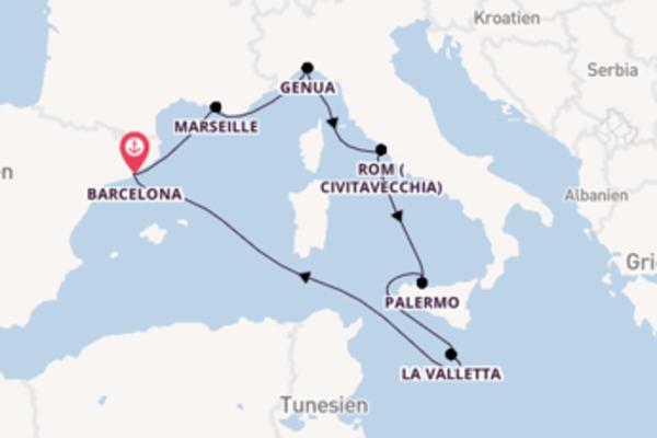 Wunderschöne Reise über Civitavecchia in 8 Tagen