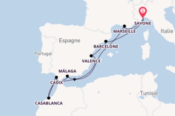 Marseille, depuis Savone à bord du bateau Costa Favolosa