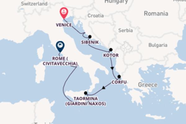 Trip from Venice to Civitavecchia (Rome) via Corfu