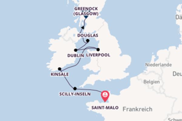 Beeindruckende Kreuzfahrt von Saint-Malo nach Greenock (Glasgow)