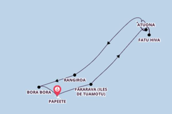 13 jours de navigation à bord du bateau Aranui V depuis Papeete