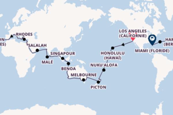 Taormine depuis Los Angeles (Californie) pour une croisière de 101 jours