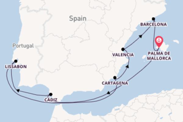 Cruise naar Palma de Mallorca via Lissabon