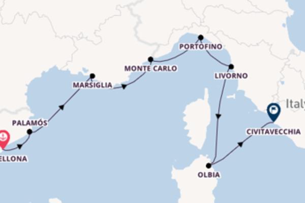 Navigando da Barcellona verso Palamós