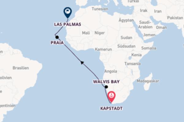 Wunderbare Kreuzfahrt über Kapstadt nach Las Palmas