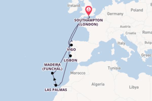 Sailing from Southampton (London) via Madeira (Funchal)