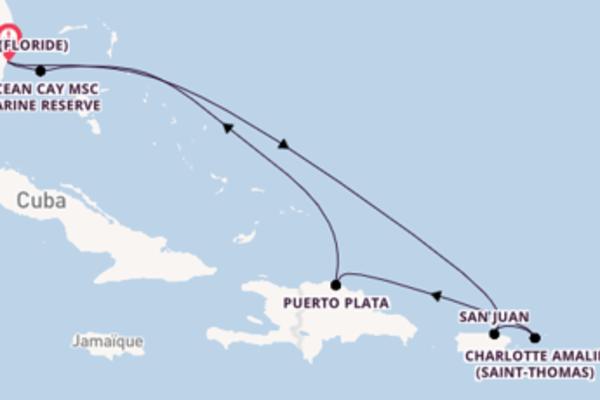 Ressentez avec MSC Croisières, la destination: Charlotte Amalie (Saint-Thomas)