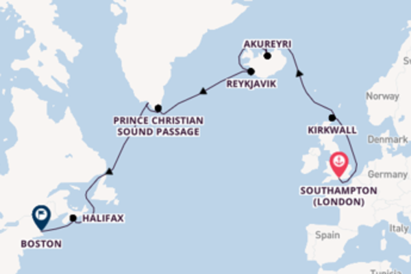 15 day expedition from Southampton (London) to Boston