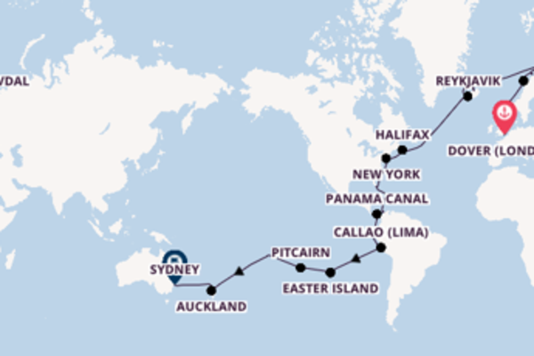 Sailing from Dover (London) to Sydney