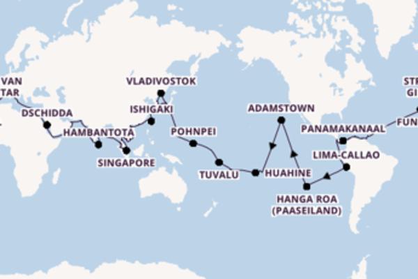 Indrukwekkende 154-daagse wereldcruise met de Amadea