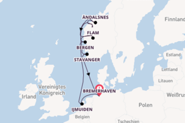 In 10 Tagen nach Bremerhaven über Hellesylt/Geiranger