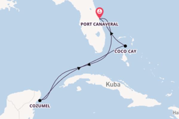 Spannende Kreuzfahrt über Cozumel nach Port Canaveral