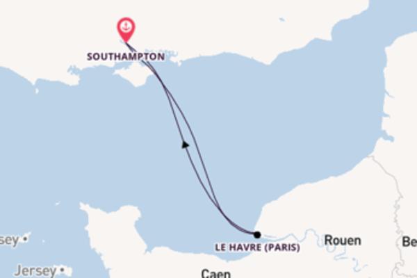 In 3 Tagen nach Southampton über Le Havre (Paris)