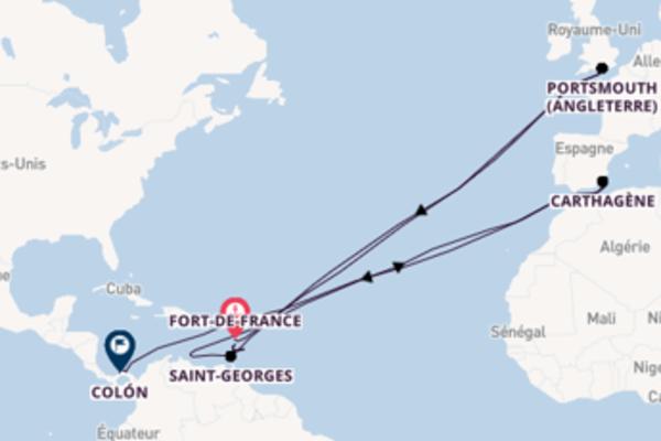 13 jours de navigation à bord du bateau Le Dumont-d'Urville depuis Fort-de-France
