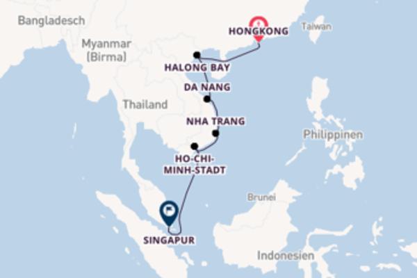 Einmalige Kreuzfahrt von Hongkong nach Singapur