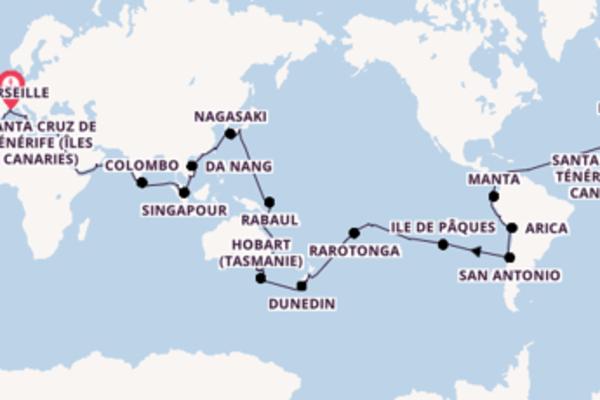Singapour et une somptueuse croisière depuis Marseille