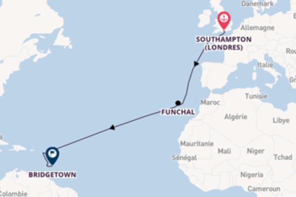 15 jours de navigation à bord du bateau Azura vers Bridgetown