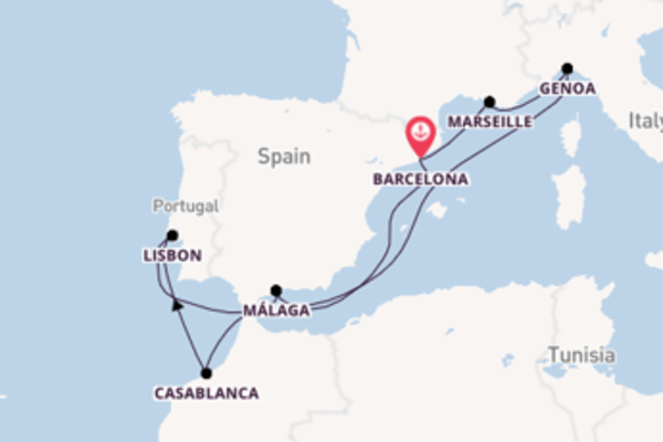 10 day cruise on board the MSC Splendida from Barcelona