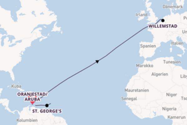 Oranjestad/Aruba, Willemstad und Bridgetown erleben
