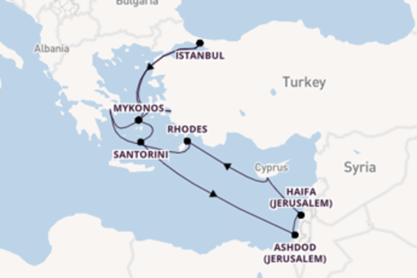 Picturesque expedition from Athens (Piraeus) with Norwegian Cruise Line