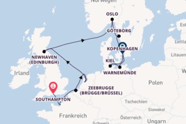 Southampton, Oslo und Kopenhagen entdecken