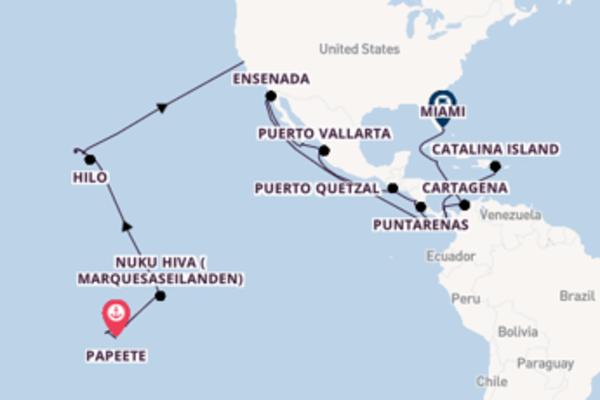 Aanschouw Papeete, Puerto Quetzal en Miami