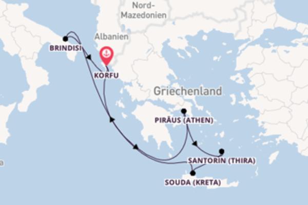 Begeisternde Kreuzfahrt über Santorin (Thira) nach Korfu