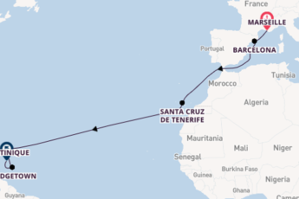 Cruise naar Martinique via Barcelona