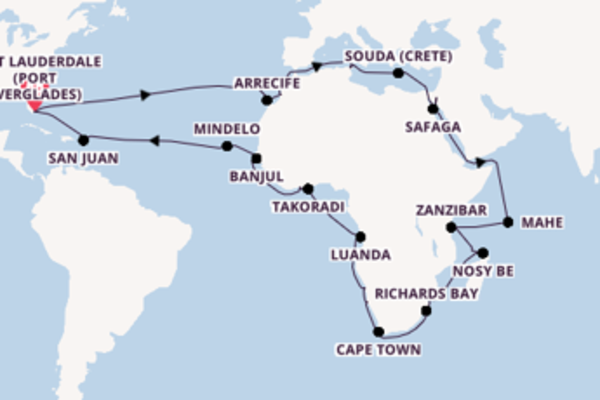 Vibrant cruise from Fort Lauderdale (Port Everglades) with Holland America Line