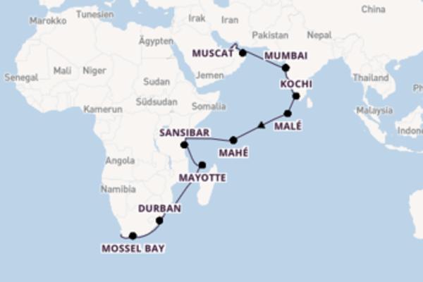 Traumhafte Reise über Durban in 31 Tagen