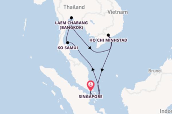 Geniet van een 8-daagse cruise naar Singapore