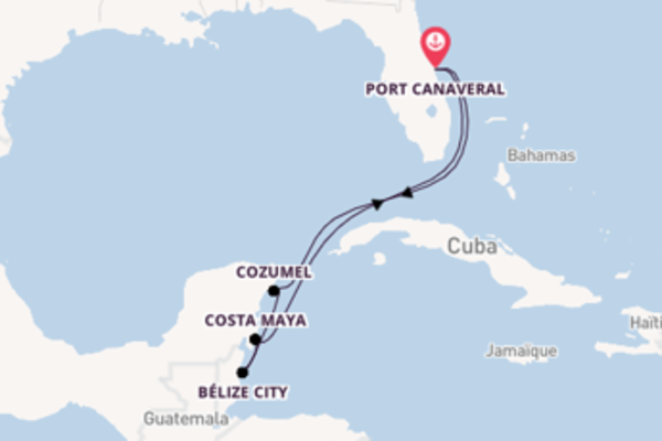 Charmante balade de 7 jours à bord du bateau Carnival Magic