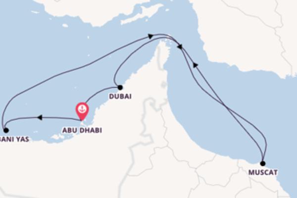 8-tägige Kreuzfahrt bis Abu Dhabi