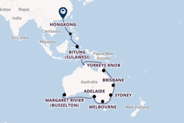 Cruise naar Hongkong via Perth