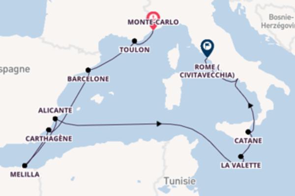 Contemplez à bord du bateau Riviera, la destination: La Valette