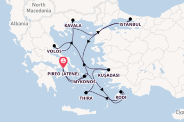 Estasiante crociera di 11 giorni passando per Santorini