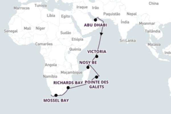 Aventura de 22 dias a bordo do Norwegian Dawn